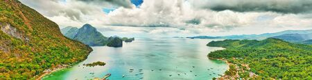 palawan: El Nido bay. View from the mountain. Panorama Stock Photo