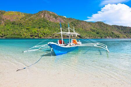 coron: Traditional Filipino bangka boat at Snake island Stock Photo