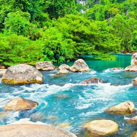 Blue water stream. Phong Nha - Ke Bang National Park. Vietnam