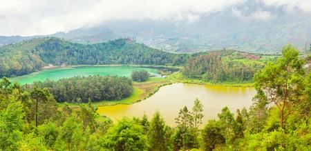 Lakes Telaga Warna and Cisaat at plateau Dieng photo