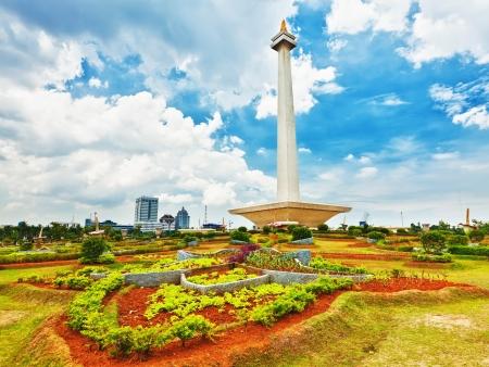 Monumento Nacional Monas. Merdeka Square, el centro de Yakarta, Indonesia Foto de archivo