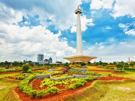 National Monument Monas. Merdeka Square, Central Jakarta, Indonesia Stock Photo