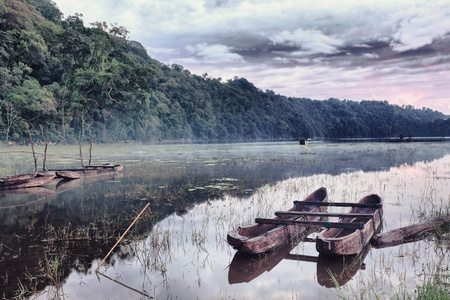 Tamblingan lake at sunrise time. Bali photo