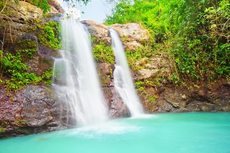 Beautiful waterfall at summer sunny day  Bali Stock Photo