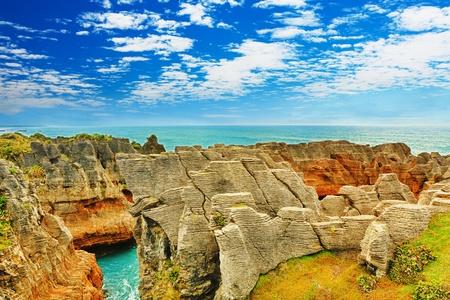 rock formation: Punakaki Pancake Rocks in Paparoa National Park Stock Photo