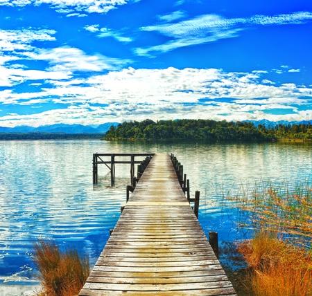zealand: Lake Mahinapua in New Zealand
