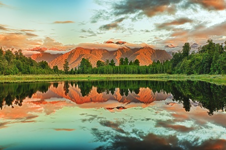 Reflection of the mountains in Matheson lake photo