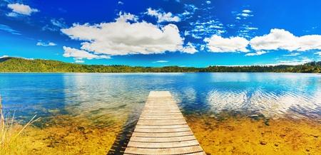 Meer in Nieuw-Zeeland Panorama Stockfoto
