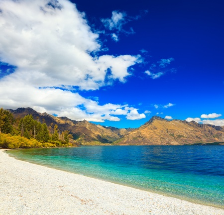 Lake Wakatipu in New Zealand Archivio Fotografico