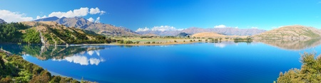 place of interest: Lake Wanaka at summer sunny day Stock Photo
