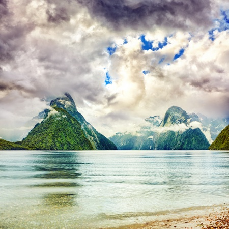 fiordland: Milford sound. New Zealand fiordland
