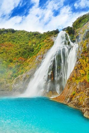 Prachtige waterval in Nieuw-Zeeland Stockfoto