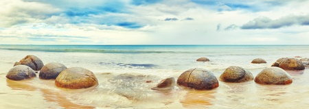 panoramic beach: Moeraki Boulders panorama  New Zealand