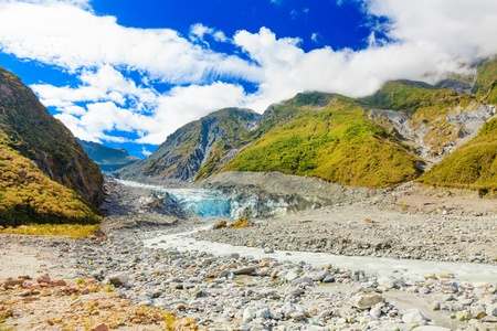 new age: Fox glacier and river in New Zealand