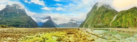 tasman: Milford sound panorama. New Zealand fiordland Stock Photo