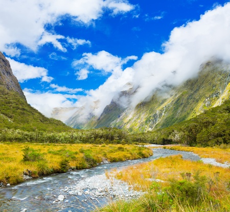 creeks: Mountain valley on the way to Milford Sound