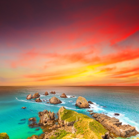 Nugget point  Coastal view at sunset