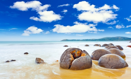 Moeraki Boulders panorama. New Zealand photo