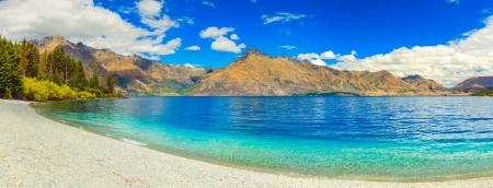 Lake Wakatipu in New Zealand  Panorama Foto de archivo