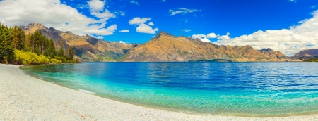 Lake Wakatipu in New Zealand  Panorama Stock Photo