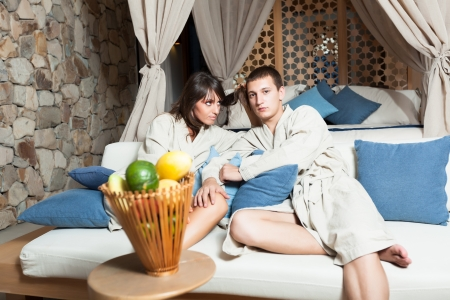 Young attractive couple in resort photo