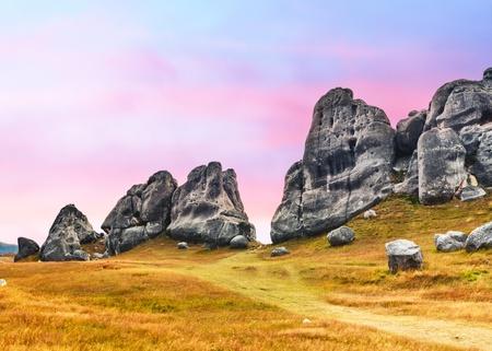 new zealand: The Castle hill. Southern Alps. Arthurs Pass. New Zealand Stock Photo