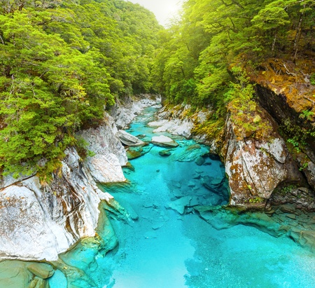 The Blue Pools of Haast Pass in New Zealand