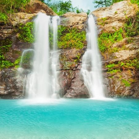 Beautiful waterfall in tropical rainforest