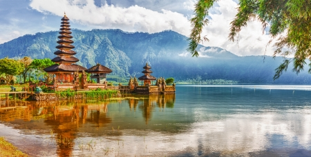 bali: Pura Ulun Danu temple on a lake Beratan  Bali Stock Photo