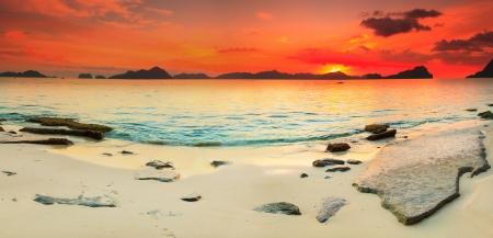 coron: Beautiful seascape panorama  Stone on the foreground  Philippines