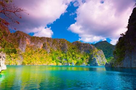 coron: Tropical lagoon on the way to Kayangan lake. Coron island