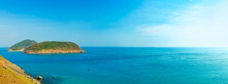 con dao: Panorama of the sea.Iislands and blue sky