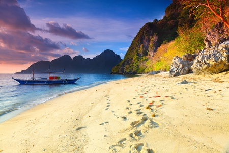 coron: Beautiful seascape. Boat on the foreground. Philippines