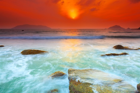 exposure: Sunrise over the sea  Con Dao  Vietnam Stock Photo