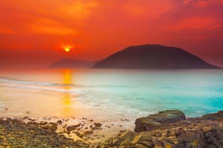time travel: Sunrise over the sea  Con Dao  Vietnam Stock Photo