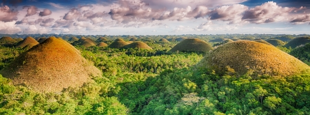 Panorama of The Chocolate Hills. Bohol, Philippines Banco de Imagens