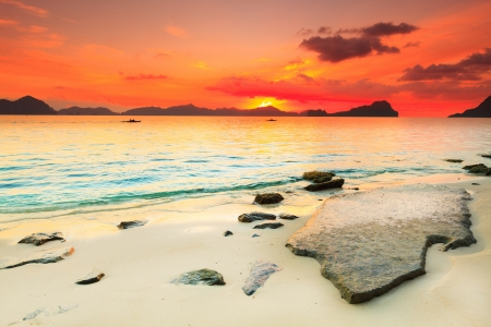 Beautiful seascape. Stone on the foreground. Philippines photo