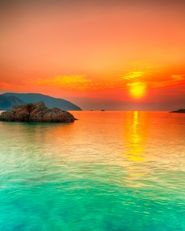 Sunset over the sea. Con Dao. Vietnam Stock Photo - 14642948