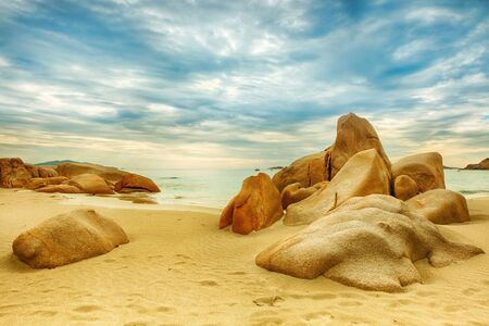 Beautiful beach  Stones on the foreground Stock Photo