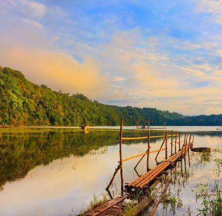 Tamblingan lake at sunrise time photo