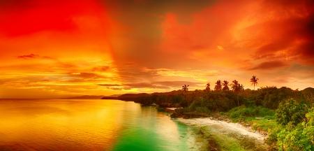 bohol: Beautiful seascape panorama  Coastline at sunset time  Philippines