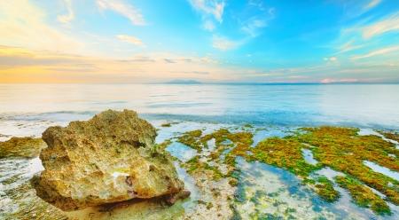 bohol: Beautiful seascape  Stone on the foreground  Philippines Stock Photo