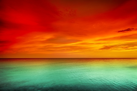 amazing wallpaper: Beautiful sunset over the sea Stock Photo