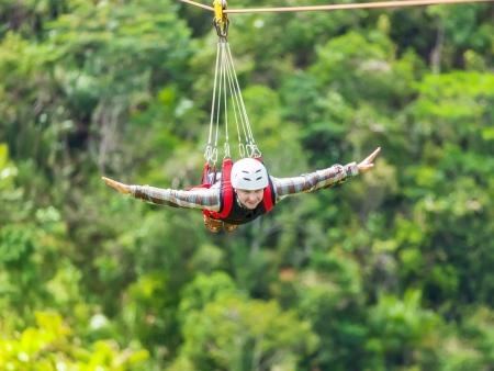 Homens que apreciam zip-line voando sobre a floresta