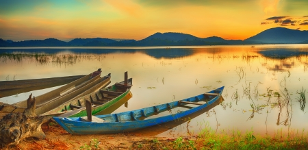 waterscape: Panorama of a Lak lake at sunrise Stock Photo