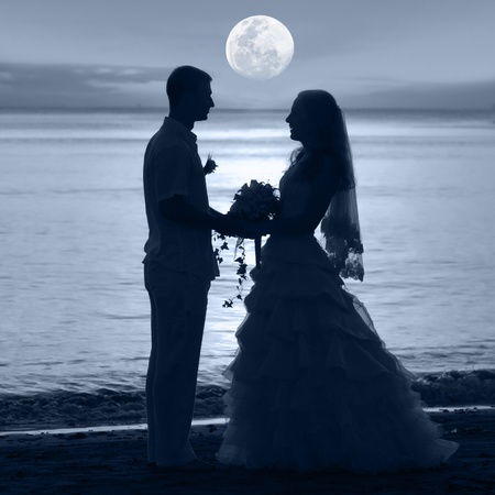 Shape of a bride and groom on the beach under moon Foto de archivo
