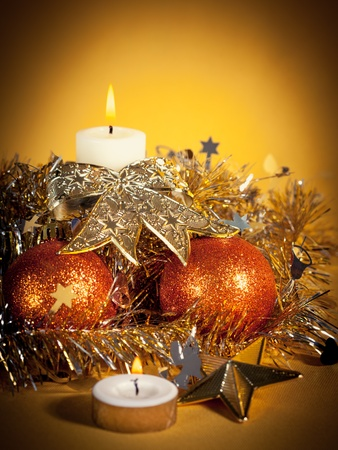 Christmas decorations on abstract background photo
