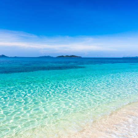 philippino: Tropical sandy beach Malcapuya at summer sunny day Stock Photo