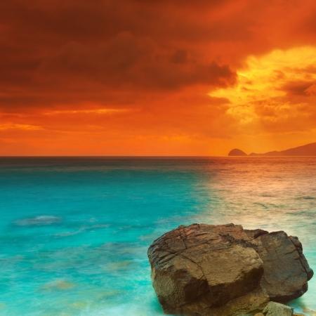 con dao: Sunrise over the sea  Con Dao  Vietnam Stock Photo