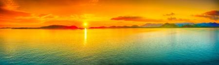 panoramic: Sunrise over the sea. Panorama